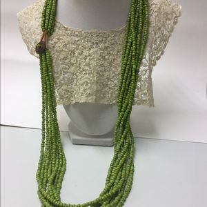 NWOT! Green Glass Bead Necklace